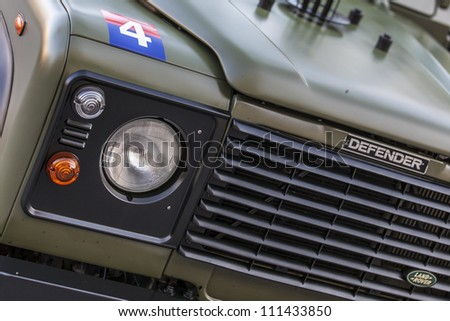 VALLETTA, MALTA - AUG 25 - Land Rover Defender used to tow the gun carriage during the state funeral of former Prime Minister Dom Mintoff - stock photo
