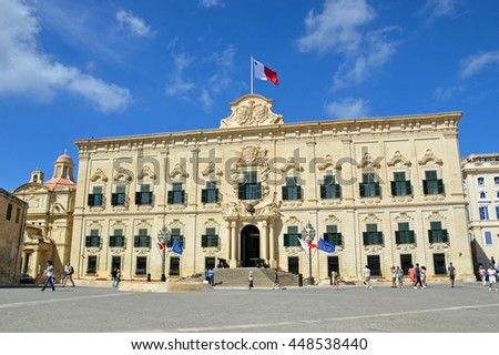 VALLETTA, MALTA - JUNE 13 2016: Auberge de Castille dates back to the 1740s and now it is Office of the Prime Minister of Malta.