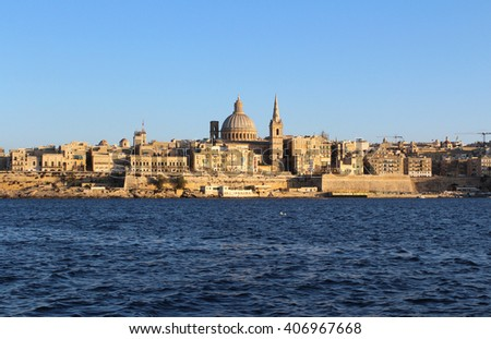 Valletta, Panoramic View, Capital City, Republic of Malta  - stock photo