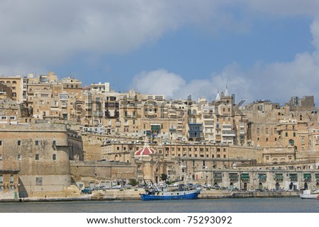 Valletta the capital of Malta seen from the waterfront
