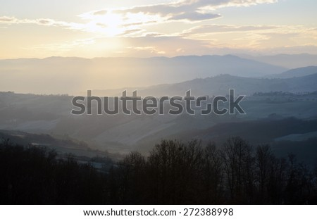 Valley at sunset