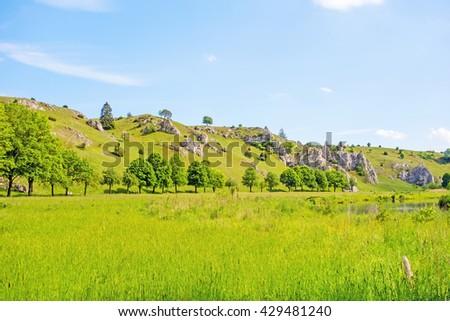 Valley Eselsburger Tal near river Brenz - jewel of the swabian alps (Schwaebische Alb), green meadow / grassland in front - stock photo