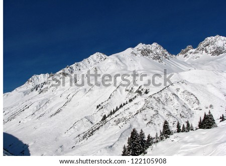 valley in Alps - stock photo