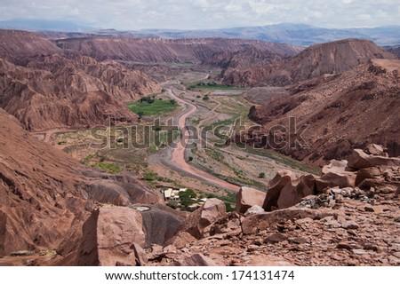 Valley in Atacama Desert - stock photo