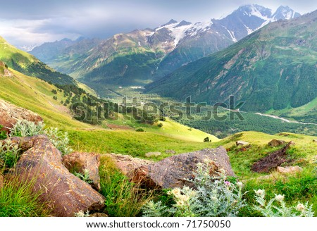 Valley in high mountain. Natural composition - stock photo