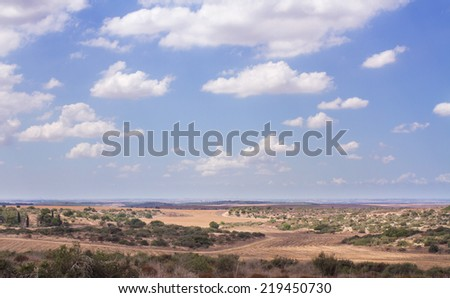 Valley in Israel letom.vid near the settlement of Beit Guvrin. - stock photo