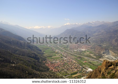 Valley in northern Italy, view from Sacra di San Michele - stock photo