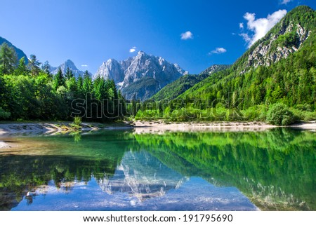 Valley in the Triglav National Park, Julian Alps, Slovenia - stock photo