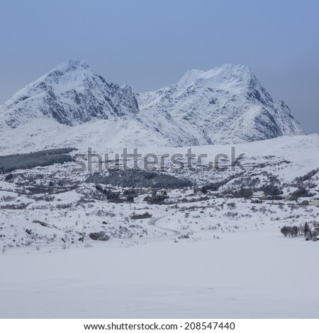 valley landscaping during winter time - stock photo