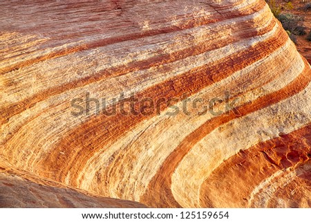 Valley of Fire State Park in Nevada, USA derives its name from red sandstone formations including unique Fire Wave. - stock photo