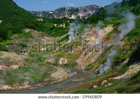 Valley of Geysers - stock photo