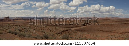 Valley Of Gods in Utah on the way to Monument Valley National Park. Panoramic view of American Southwest. - stock photo