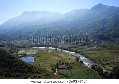 Valley of Rice Terrace Fields in Sapa, Vietnam - stock photo