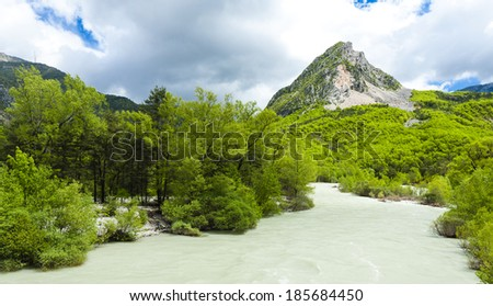 valley of river Verdon in spring, Provence, France - stock photo