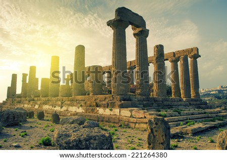 Valley of Temples in Agrigento of Sicily, unesco world heritage in Italy - stock photo