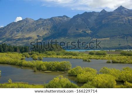 Valley of the Dart River, Mount Aspiring National Park, Queenstown, New Zealand - stock photo