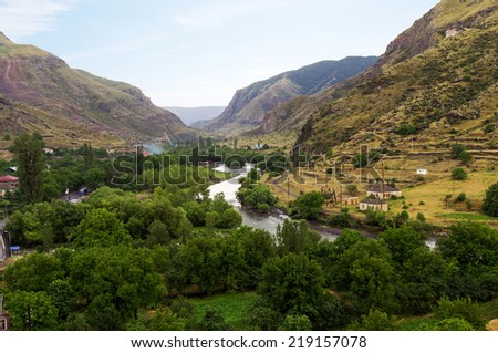 Valley of the mountain river Mtkvari (Kura). Caucasus Mountains