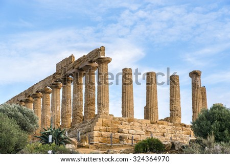 Valley of the Temples. Archaeological Area of Agrigento. Sicily. Italy. - stock photo