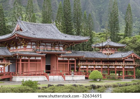 Valley of the Temples Buddhist Temple in Kaneohe, Hawaii