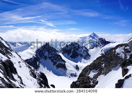 Valley of Titlis snow mountains in Engelberg, Lucerne, Switzerland - stock photo