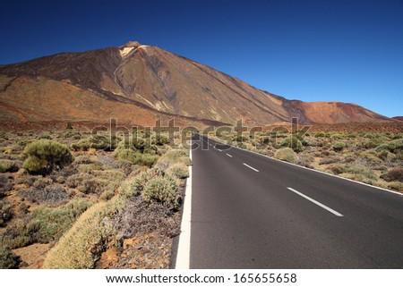 valley of volcano Teide, Tenerife, Spain - stock photo