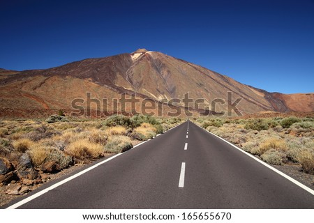 valley of volcano Teide, Tenerife, Spain - stock photo
