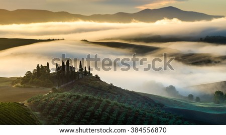 valley val d'Orcia,Tuscany Morning, foggy rural view - stock photo
