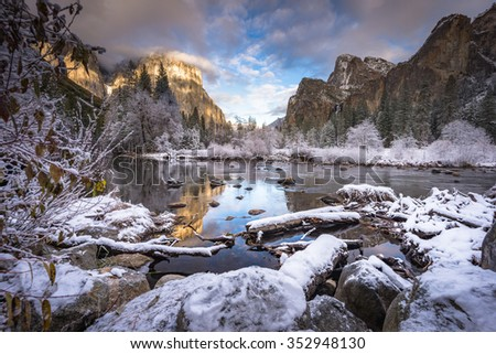 Valley View in the winter Yosemite National Park - stock photo