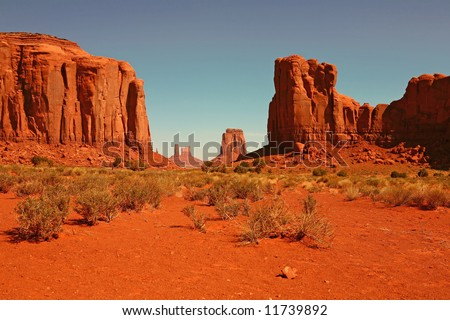 Valley View of Monument Valley, Navajo Nation, Arizona USA - stock photo