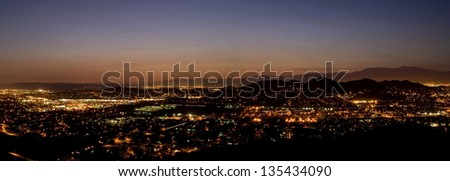 Valley View with City lights at Dusk Panoramic