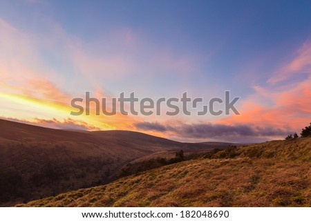 Valleys at sunset in Wicklow Mountains - stock photo