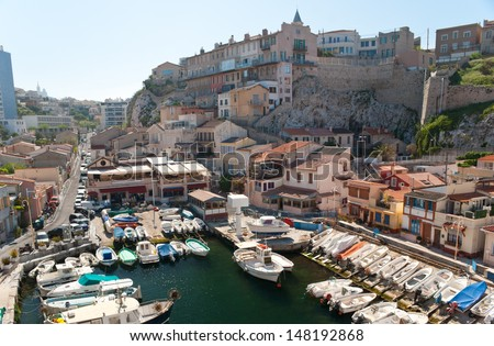 Vallon des Auffes is a small fishing village inside of the city of Marseille, France - stock photo