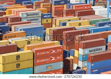VALPARAISO, CHILE - APRIL 16, 2015: Colourful collection of shipping containers in the historic port of Valparaiso in Chile. - stock photo