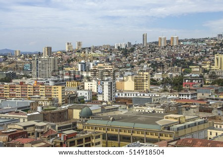 VALPARAISO, CHILE -31 DECEMBER,2015: Aerial view of Valparaiso, Chile. Beatiful lanscape of Valparaiso city at day time