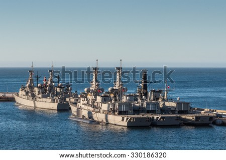 VALPARAISO, CHILE - DECEMBER 4: Chilean Navy vessels in the Port of Valparaiso, Chile at December 4, 2012:.