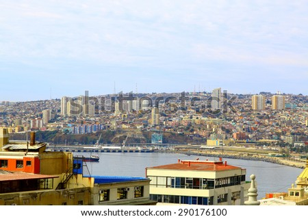 VALPARAISO, CHILE- june 10: The busy cargo seaport. Valparaiso, Chile. It is the most important seaport in Chile. - stock photo