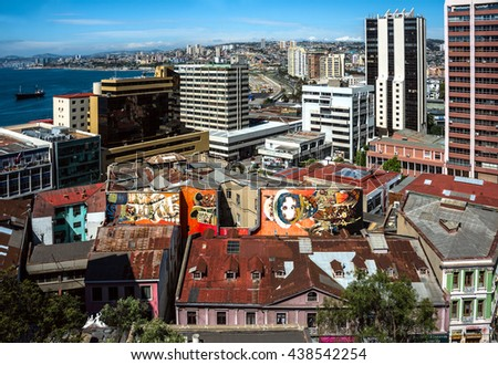 Valparaiso, Chile - October 20, 2015: Houses of historical shell declared World Heritage by UNESCO