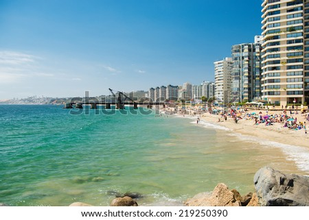 Valparaiso cityscape. The beach and buildings of the city. - stock photo