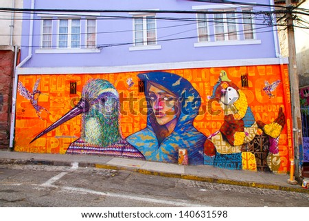 VALPARAISO - MARCH 03: Street art in Concepcion and Alegre districts of the protected UNESCO World Heritage Site of Valparaiso on March 3, 2013 in Valparaiso, Chile - stock photo
