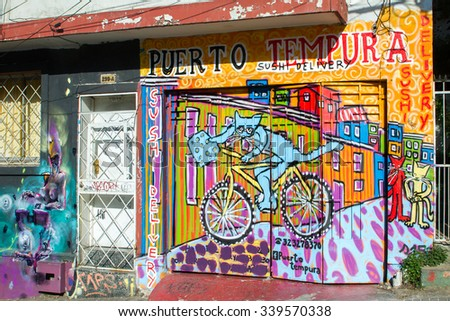 VALPARAISO - NOVEMBER 07: Street art in the districts of the protected UNESCO World Heritage Site of Valparaiso on November 7, 2015 in Valparaiso, Chile - stock photo