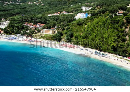 Valtos beach ,Parga. Epirus region ,Greece. - stock photo