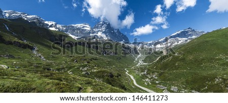 Valtournenche panorama seen from Breuil-Cervinia, Aosta Valley - Italy