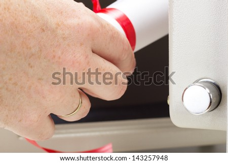 Valuable documents in the bank safe - stock photo