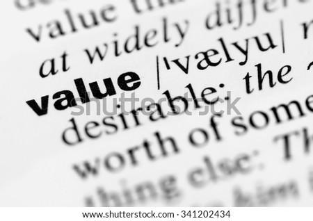 Value. - stock photo