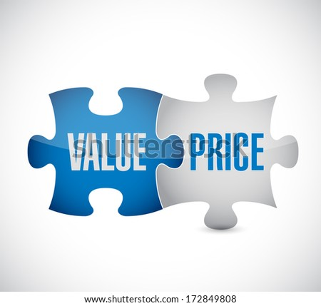 value and price puzzle pieces illustration design over a white background - stock photo