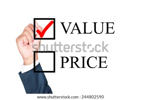 value is answer choose by businessman tick choice whiteboard white background - stock photo