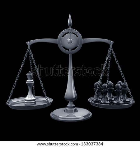 value of chessmen Scale Queen vs pawn isolated on black background High resolution 3d render - stock photo
