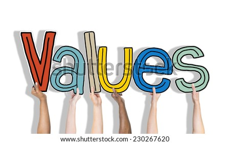 Values word and Brick Wall in the Background - stock photo