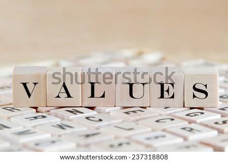 values word background on wood blocks - stock photo