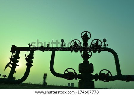 Valve and pipeline, close-up, industrial images  - stock photo